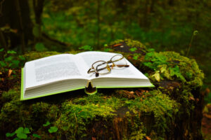 A folded pair of glasses is resting on a page of an open book. The book is resting on a verdant stump covered by bright green moss in a lush forest.